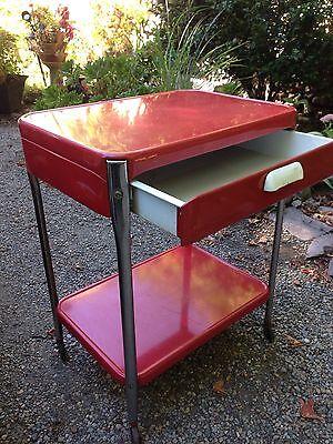 Vintage Red Cosco Style 2 Shelf 1 Drawer Metal Rolling Kitchen Utility Cart 2 Drawer Steel Kitchen Cart
