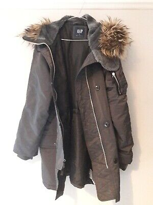 Women's GAP Slate Grey cosy hooded Parka Coat Size M