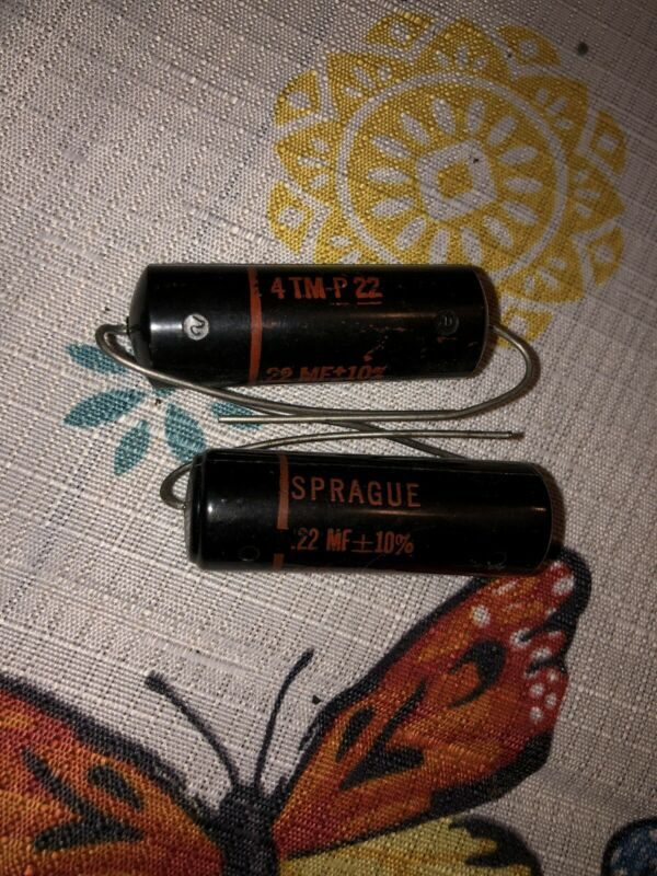 2 NOS Vintage Sprague Black Beauty .22 uf 400v Capacitors 160P TESTED Qty Avail
