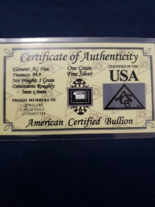 1 GR Silver Bar Certified USA