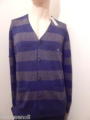 American Eagle Mens Cardigan 2XL AE Classic Striped Sweater BLUE Jacket NEW