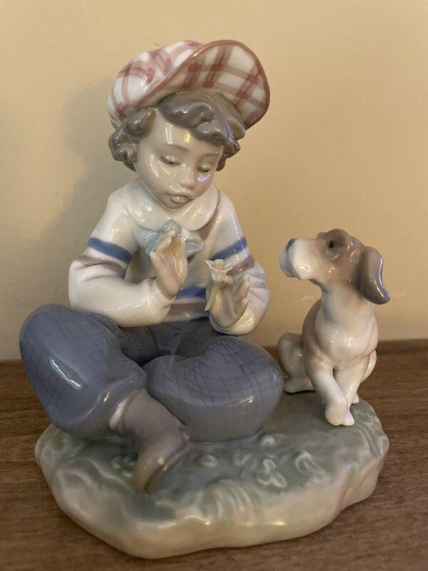 LLADRO I HOPE SHE DOES 5450 PORCELAIN FIGURINE BOY FLOWER DOG SHE LOVES ME NWOT