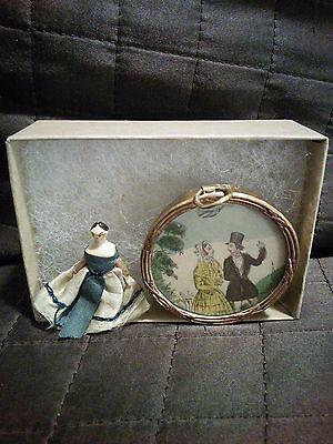 Antique 1800s Grodnertal Peg Doll and Georgian Dollhouse Picture Jane Austen
