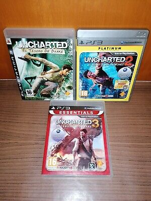Trilogía UNCHARTED 1/2/3.COMPLETOS PAL España. Lote playstation 3. for sale  Shipping to Nigeria
