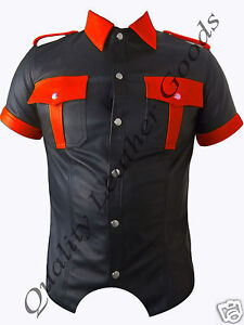 Nappa-Leather-Shirt-With-Coloured-Contrast-Uniform-Fancy-Costume-Wear-Bluff-Gay