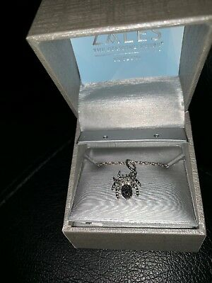 Enhanced Black and White Diamond Accent Beaded Spider Pendant in Sterling - Black And White Spider