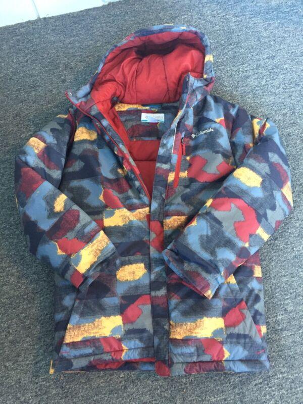 Columbia Grey Red Heavy Warm Winter Coat Jacket Boys Size L 14-16
