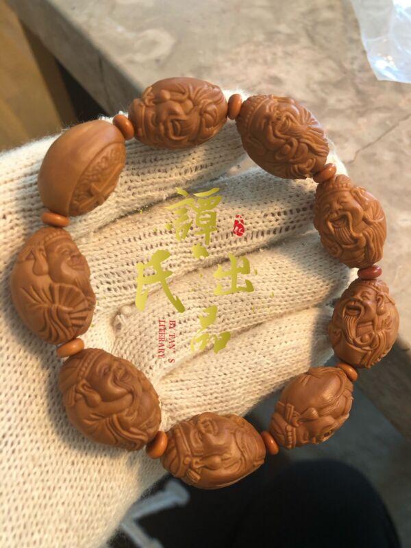 China Olive Dentoliva Hand Carved 17×25mm Mammon Wealth God Bracelet 官帽财神