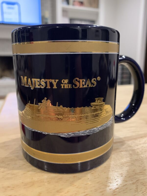 Majesty Of The Sea Royal Caribbean Cruise Ship Blue Gold Coffee Cup Mug Stats