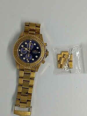 Invicta Pro Diver 19157 Watch Stainless Steel Gold Tone Blue Chrono Dial no box