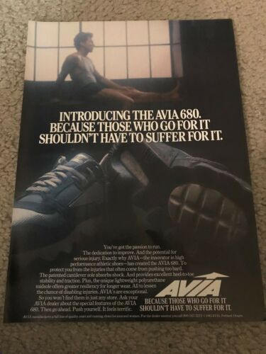 Vintage 1984 AVIA 680 Running Shoes Poster Print Ad 1980s RARE