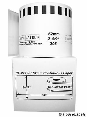 2 Rolls Of Dk-2205 Brother-compatible Continuous Labels Bpa Free