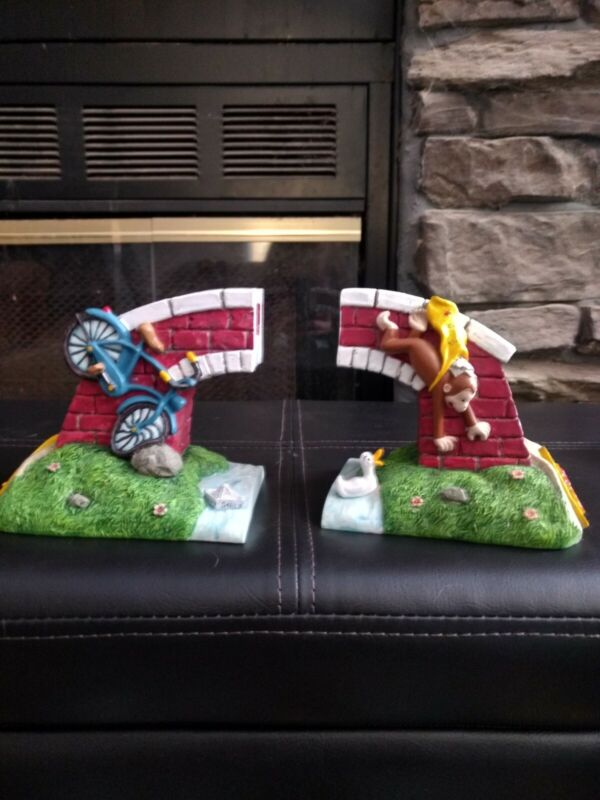 Curious George Bicycle and Bridge Bookends In Great Condition 1997