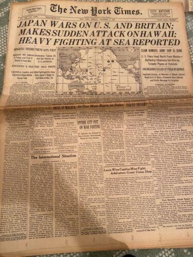Pearl Harbor NY Times newspaper dec 8th 1941