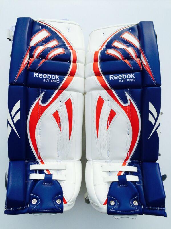 Reebok Larceny Pro goalie leg pads 30 +1 red white blue int hockey goal pad new