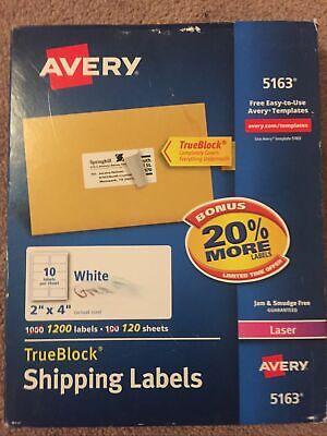 Avery 5163 Laser Printers Trueblock Shipping Labels 1200 Labels 2 X 4 White