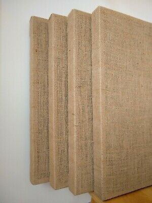 "4 Acoustic Panels - 24x24x2"" Sound Absorber, Wall Mounted, Natural Burlap Fabric"