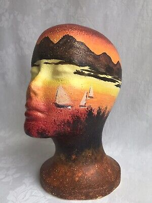 Hand Painted Sailboats Styrofoam Mannequin Head Display