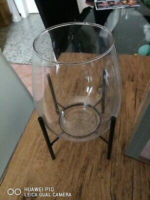 Vase mit  Metallgestell Kerzenständer  / Windlicht