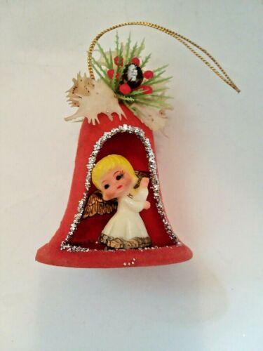 Vintage Flocked Plastic ANGEL BELL Diorama 3D Christmas Ornament Japan