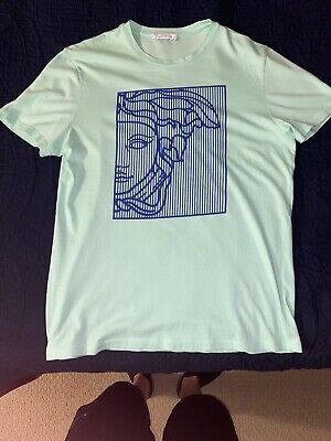 Mens Versace Collection Luxury Lime Green/Blue T Shirt Graphic Tee Sz Medium M