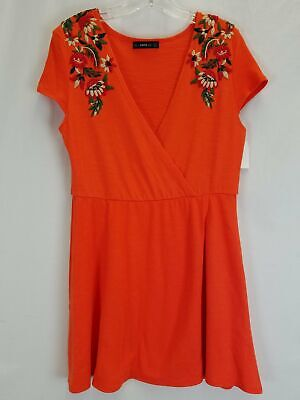Zara Knit Orange A-line Wrap Dress w/ Crewel Embroidered Shoulder Accents WMs S