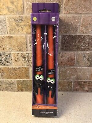 """Spooky Hollow Halloween Candle Tapers Spiders Fangs NEW 10"""" Set of 2"""