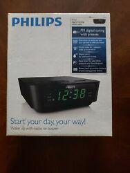 Philips AJ3116M37 FM Alarm Clock Radio - Black. New