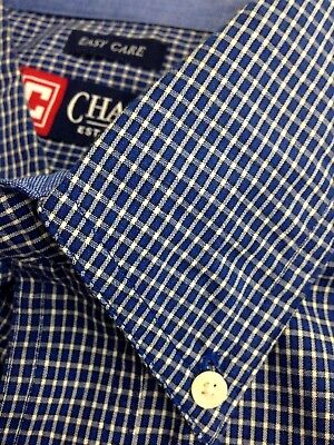 CHAPS MINI CHECK LONG SLEEVE BUTTON FRONT SHIRT MENS 2XL XXL BLUE EASY CARE