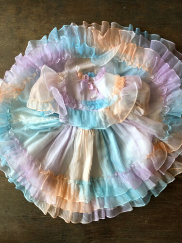 Vintage Marthas Miniatures Toddler Pageant Dress Sheer Pastel Rainbow Size 6