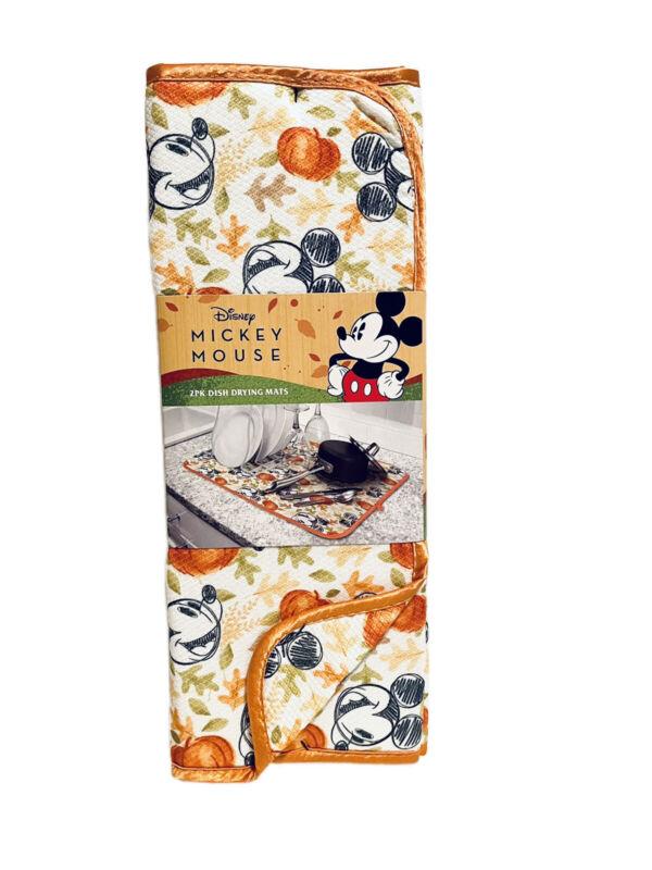 "Disney Mickey Mouse Fall Pumpkin Dish Drying Mat Kitchen 16"" x 18"" 2pk NEW"