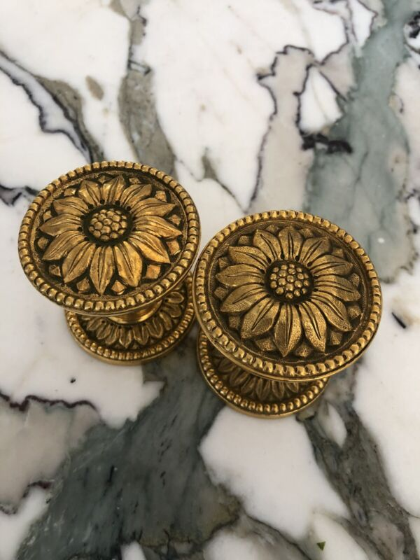 PE Guerin Or Sherle Wagner Louis Gold Doorknobs Vintage Brass Retails For +900