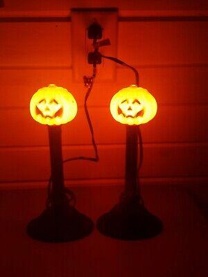 2 Vintage Halloween Lighted Electric Pumpkin Window Candles