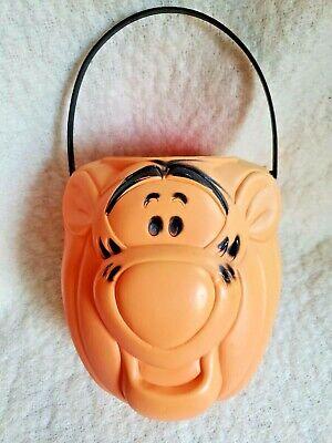 Halloween Disney Tigger Pumpkin Plastic Candy Pail Bucket Blow Mold Vintage USA