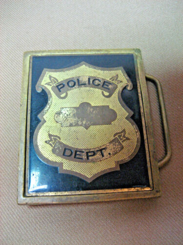 Vintage 1983 NAP Inc. Solid Brass FO3 POLICE DEPT. Brass Buckle Badge used 34X