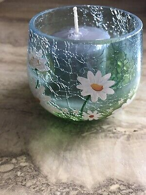 YANKEE CANDLE Daisy Crackle Glass Votive Candle Holder W/ New Candle