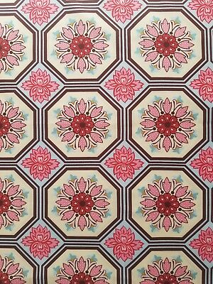 Ginger Blossom Sandi Anderson Michael Miller Tile Fabric Bty Blue Red Cream
