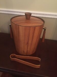 Teak Ice Bucket - with teak tongs - Mid Century Modern