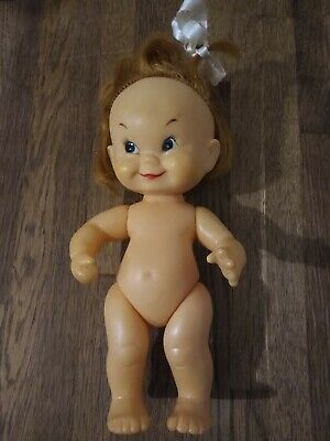 Cute vintage sweet little Japanese Cheeky Faced Doll with bow in her hair