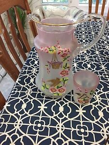 Vintage depression pink pitcher matching cup