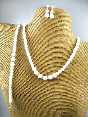 (Lovely Pearl Beads Bridal Necklace Bracelet Earrings Set Costume Woman Jewelry)