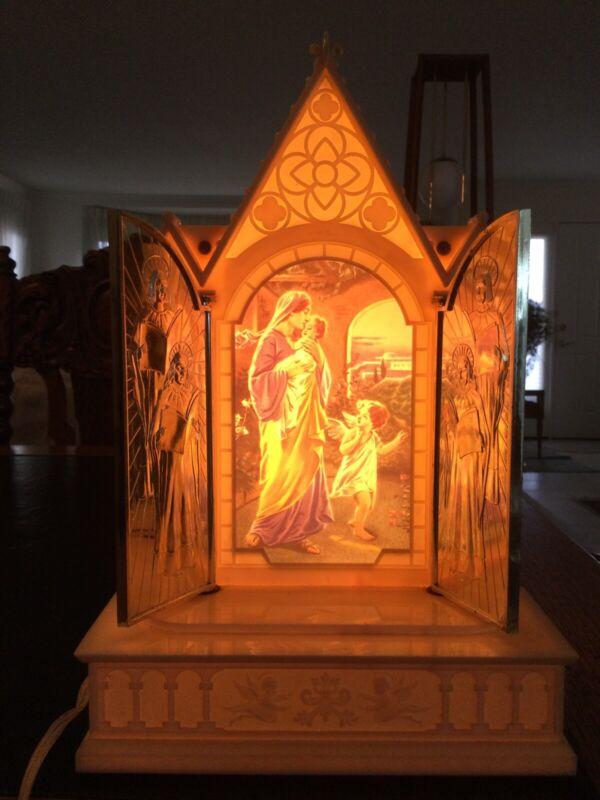 Vintage Raylite Illuminated Lighted Church Moving Doors, Mary & Jesus Music Box