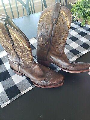 Tony Lama Boots 8B Womens FREE Shipping Bark Santa Fe style