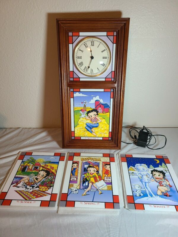 Betty Boop Danbury Mint RETIRED Hanging Clock With Backlight and 4 Inserts