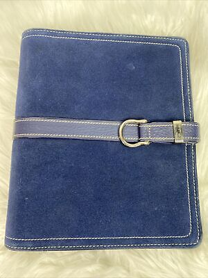 Franklin Covey Classic Binder Planner Blue Suede Leather 7 Rings 1.5 6x7.5