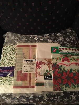 4 Vintage Christmas Tablecloths 2 Paper 2 Plastic Never Been Used - Christmas Plastic Tablecloths