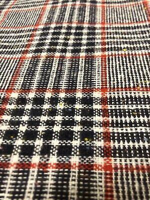 Vintage Wool Plaid Fabric 1 7/8 Yd Blue Red