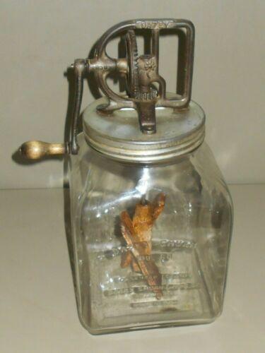 Huge Antique Dazey Butter Churn No. 80  Pat Feb 14, 1922 Wood Paddles Glass Jar