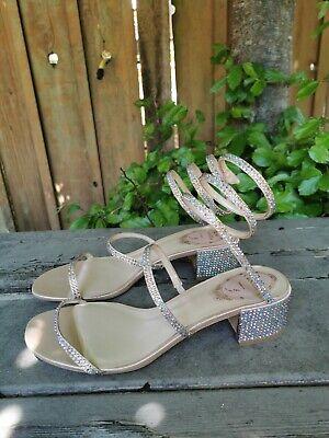 Rene Caovilla Cleo 40 Rhinestone Embellished Sandals Size 38