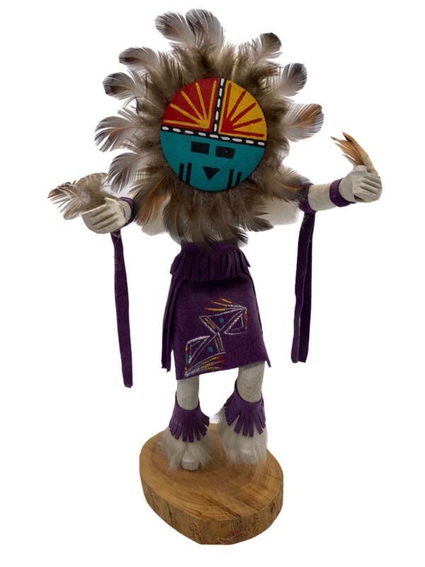 "KACHINA Doll W. EDSITTY NAVAJO Sundance 11"" doll 1"" base Leather Feathers Purple"